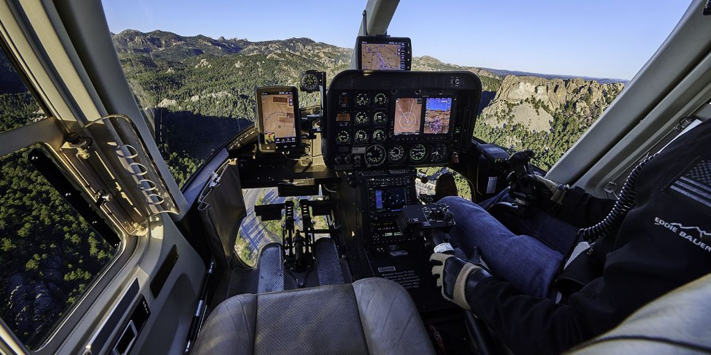Helicopter flying near Mount Rushmore