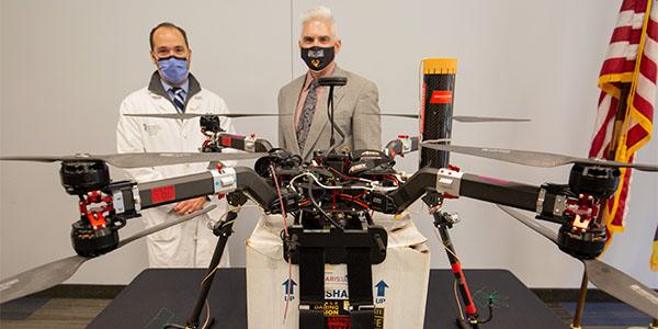 Dr. Joseph Scalea and Matt Scassero with their innovative drone