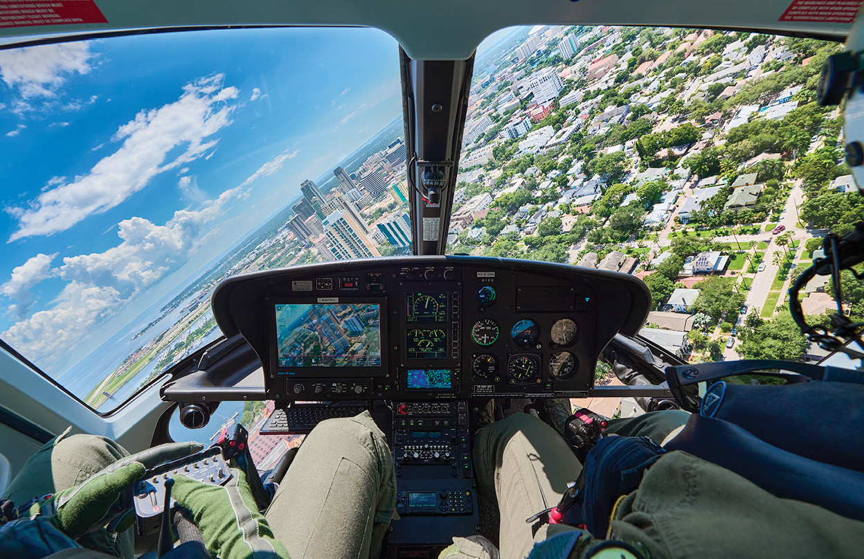 St. Petersburg, FL, from cockpit of AS350 B2 helicopter