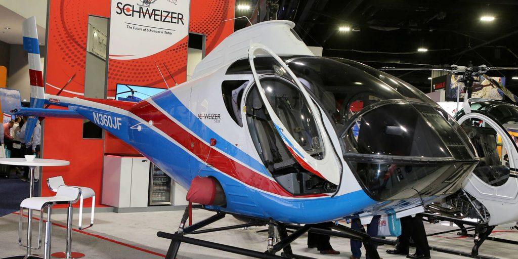 Schweizer aircraft on display at HAI HELI-EXPO